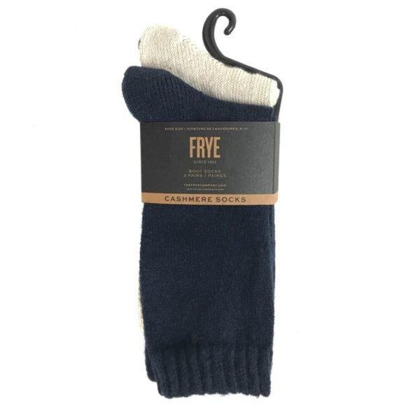 NEW Frye Womens Blue & Beige Soft Cashmere Socks